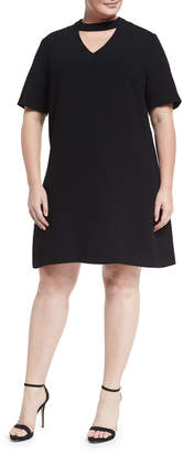 Lea & Viola Plus Choker-Neck Trapeze Dress, Plus Size