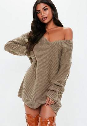 Missguided Almond V Neck Ribbed Knit Sweater Dress
