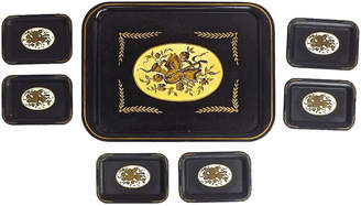 One Kings Lane Vintage Tole Musical Theme Trays - Set of 7