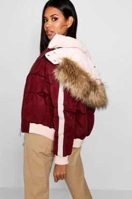 boohoo Contrast Hood Crop Puffer Jacket