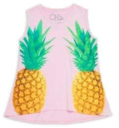 Chaser Little& Big Girl's Pineapples Flared Tank Top