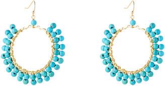 Panacea Pannee By Gold-Tone & Turquoise Hoop Earrings