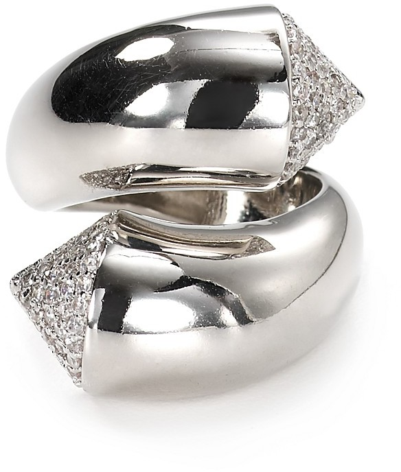 Noir Pyramid Spike Pave Ring