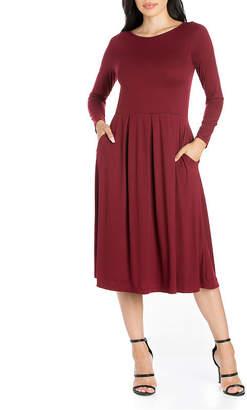 24/7 Comfort Apparel Long Sleeve Fit & Flare Dress