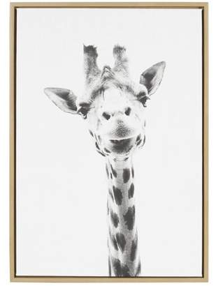 Bronx Ivy 'Giraffe Animal Print Portrait' Framed Photographic Print on Wrapped Canvas Format: Natural Framed