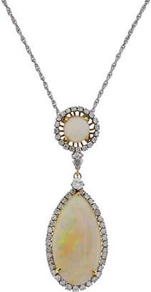 One Kings Lane Vintage Diamond & Opal Teardrop Pendant Necklace - BRP Luxury/OKL