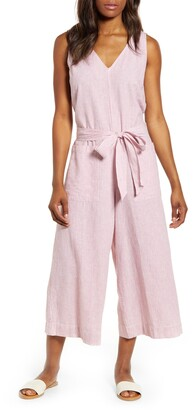 BeachLunchLounge Lennon Tie Waist Linen & Cotton Jumpsuit