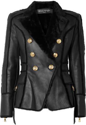 Balmain Double-breasted Shearling Jacket - Black