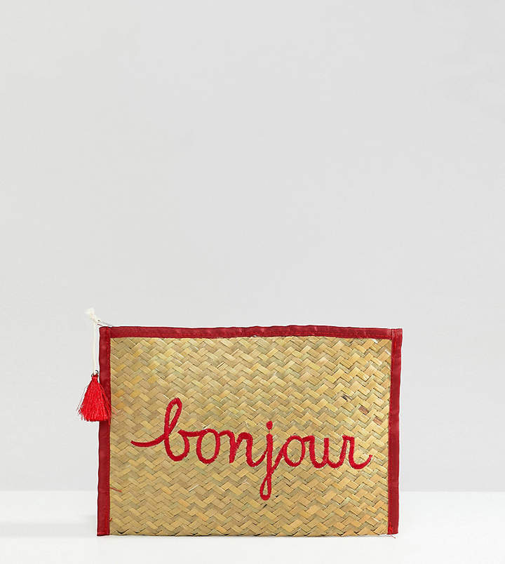 South Beach Bonjour Straw Clutch Bag