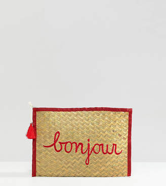 South Beach Bonjour Straw Clutch Bag
