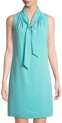 Karl Lagerfeld Paris Tie-Neck Crepe Shift Dress