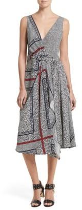 Women's Derek Lam 10 Crosby Print Pleated Silk Wrap Dress $695 thestylecure.com