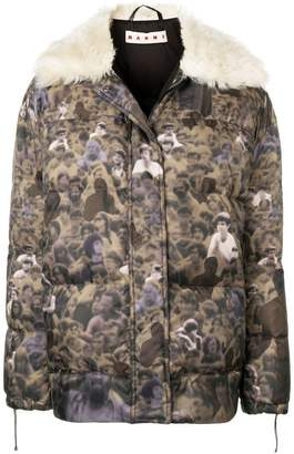 Marni crowd print padded jacket