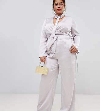 Asos Lovedrobe wide leg satin trouser co-ord in silver