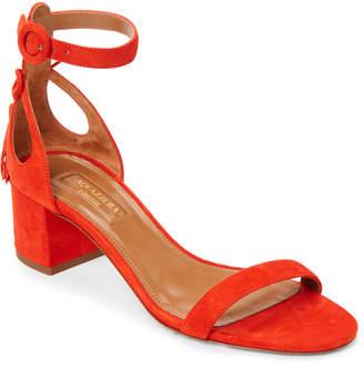 Aquazzura Blood Orange Pixie Tassel Suede Ankle Strap Sandals
