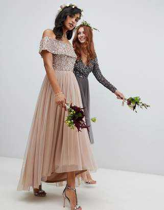 Maya Bridesmaid bardot high low maxi dress in taupe blush