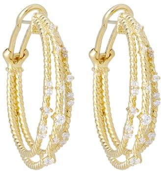 Judith Ripka 14K Gold Clad Diamonique Open HoopEarrings