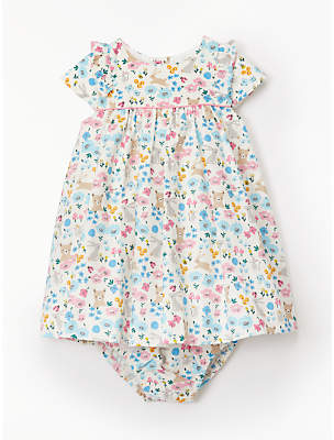 John Lewis & Partners Baby Woodland Animal and Floral Cord Dress and Knickers Set, Multi