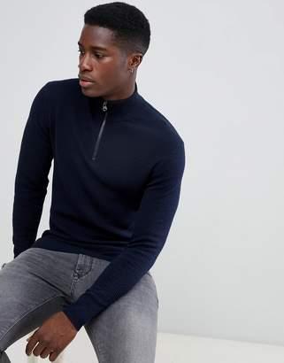 Esprit Cashmere Blend Half Zip Sweater In Navy