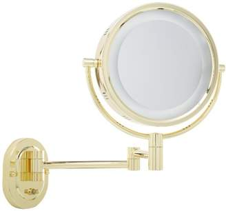 Jerdon HL65G 8-Inch Lighted Wall Mount Makeup Mirror with 5x Magnification