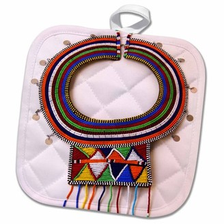3dRose Africa, Kenya. Necklace of Maasai Tribal Beads. - Pot Holder, 8 by 8-inch