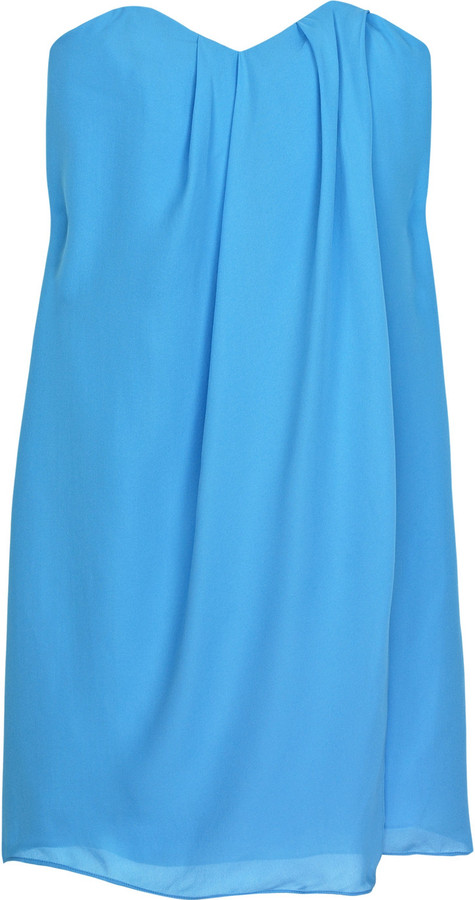 Tibi Strapless silk-georgette dress