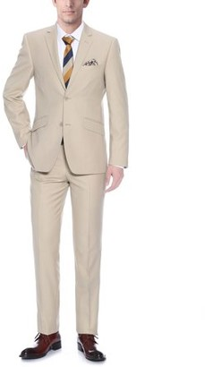 Verno Men's Tan Slim fit Italian Style 2-piece Jacket and Pants Suit