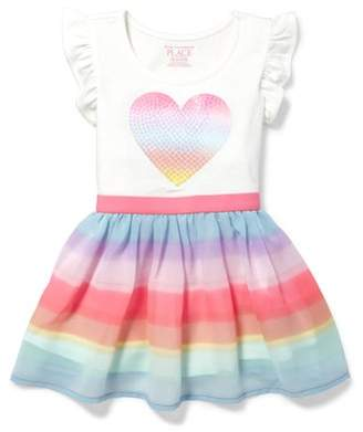 623d7aa249ae Children's Place The Knit to Woven Rainbow Heart Dress (Baby Girls &  Toddler ...