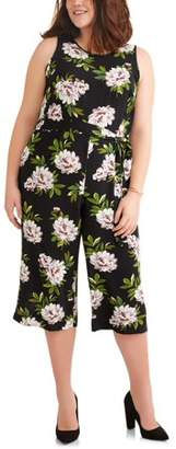 Paper Tee Women's Plus Sleeveless Floral Jumpsuit With Tie Belt