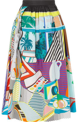 Mary Katrantzou Bowles Printed Stretch-cotton Midi Skirt - Blue