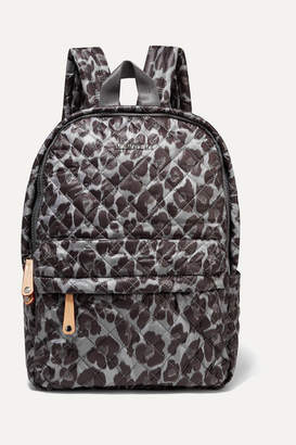 MZ Wallace Metro Leather-trimmed Leopard-print Quilted Ripstop Backpack - Black