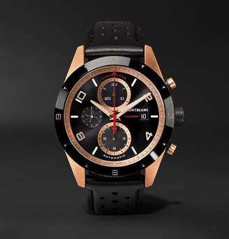 Montblanc TimeWalker Automatic Chronograph 43mm 18-Karat Red Gold, Ceramic and Leather Watch - Men - Black
