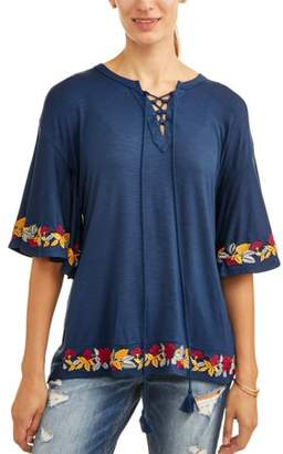 Cherokee Women's Lace Up Embroidered Top