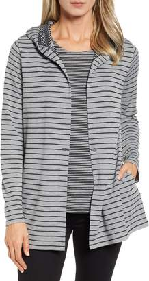 Chaus Double Stripe Hooded Button Cardigan