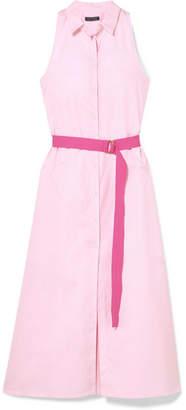 MDS Stripes Belted Cotton-poplin Shirt Dress