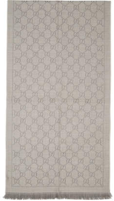 Gucci Grey Wool GG Supreme Scarf
