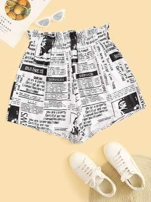 Shein Plus Newspaper Print Frill Waist Shorts