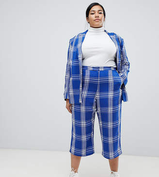 Asos DESIGN Curve tailored blue picnic check cropped wide leg trousers