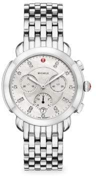 Michele Sidney Stainless Steel Diamond Dial Watch