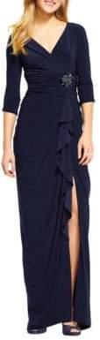Adrianna Papell Floor-Length Ruffled Dress