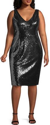 BLU SAGE Blu Sage Sleeveless Sequin Cocktail Dress - Plus