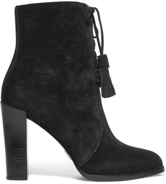 Michael Kors Collection - Odile Leather-trimmed Suede Boots - Black $495 thestylecure.com