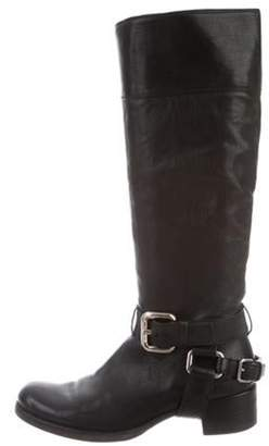 Miu Miu Leather Knee-High Boots Black Leather Knee-High Boots
