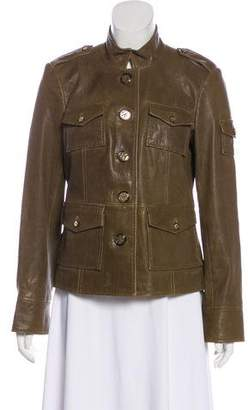 Tory Burch Leather Button-Up Jacket