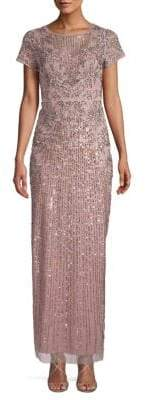 Aidan Mattox Sequin-Embellished Short-Sleeve Dress