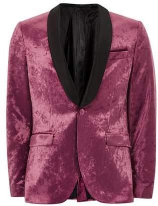 Topman Mens Pink Velvet Shawl Lapel Skinny Blazer