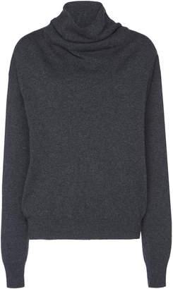 Agnona Cashmere Jersey Stitch Draped Turtleneck Sweater