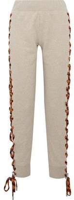 Acne Studios Diana Mélange Lace-Up Cotton-Fleece Track Pants