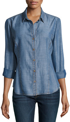 Philosophy Chambray Button-Front Blouse, Denim $69 thestylecure.com