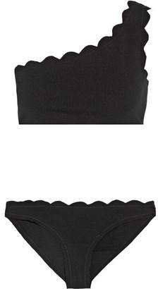 Marysia - Santa Barbara Scalloped One-shoulder Bikini - Black $286 thestylecure.com